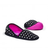 BUILT Travel Slippers Small - Składane kapcie podróżne z etui rozmiar 35-37 (Mini Dot Black and White)