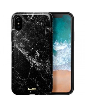 Laut HUEX ELEMENTS - Etui iPhone X z 2 foliami na ekran w zestawie (Marble Black)