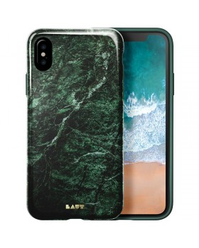 Laut HUEX ELEMENTS - Etui iPhone X z 2 foliami na ekran w zestawie (Marble Emerald)