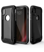 Zizo ION Cover - Pancerne etui iPhone X + szkło 9H na ekran (Black/Smoke)